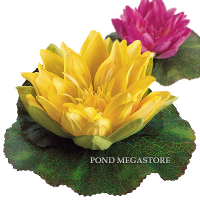 Faux Yellow Artificial/Imitation 6.5 inch Floating Waterlily with Lilypad
