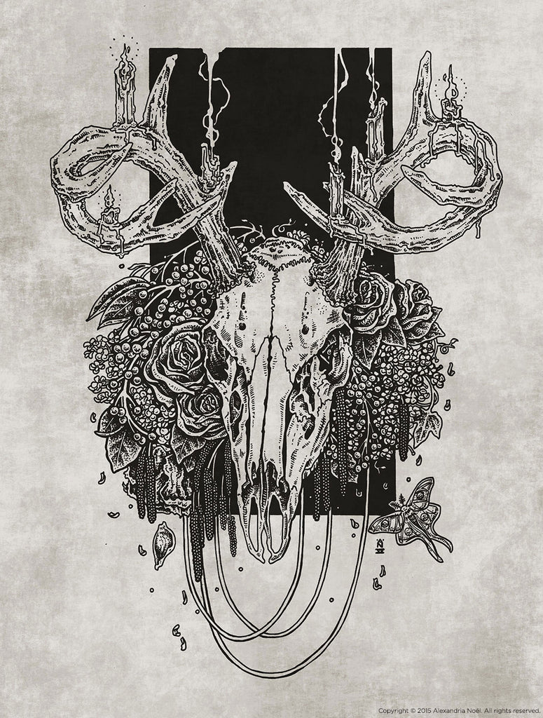 deer skull occult death rebirth illustration by alexandria noel