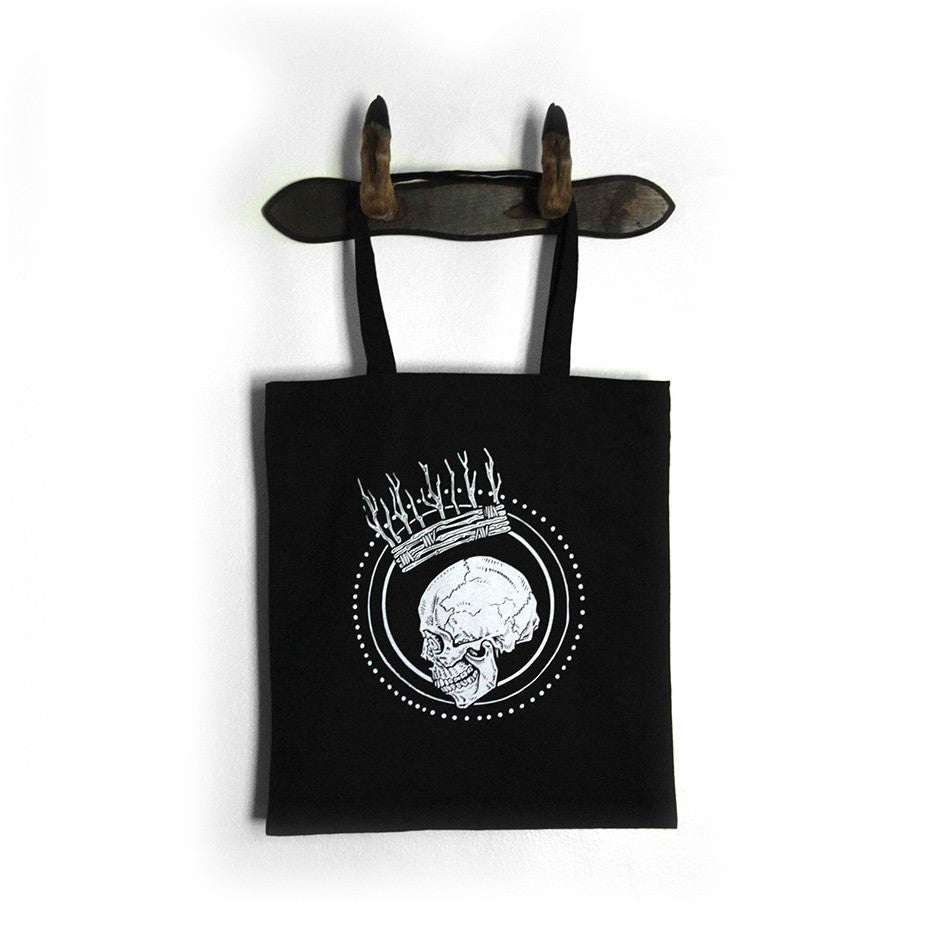 skull crown goth metal tote bag black
