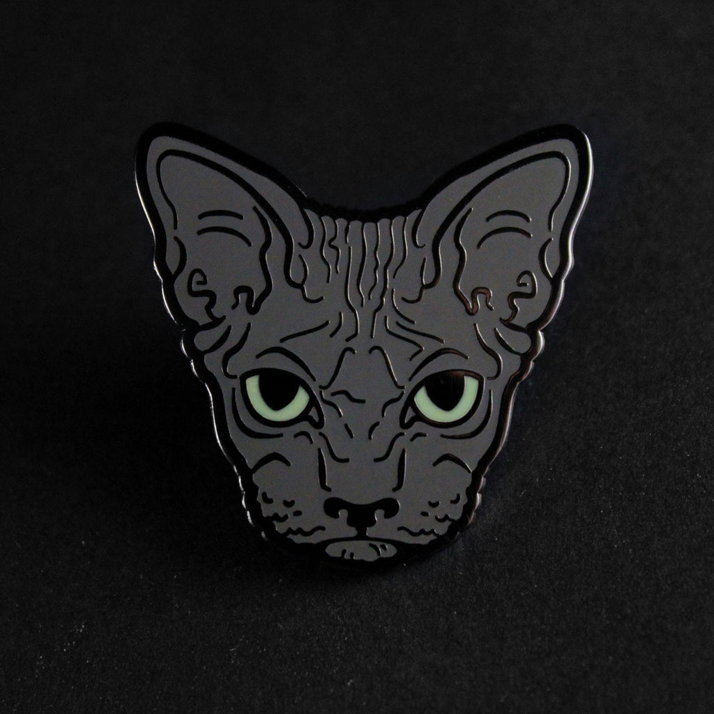 grey black hairless sphynx cat enamel pin