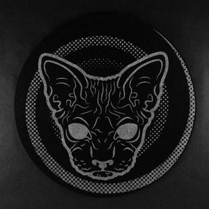 black hairless sphynx cat turntable vinyl slipmat