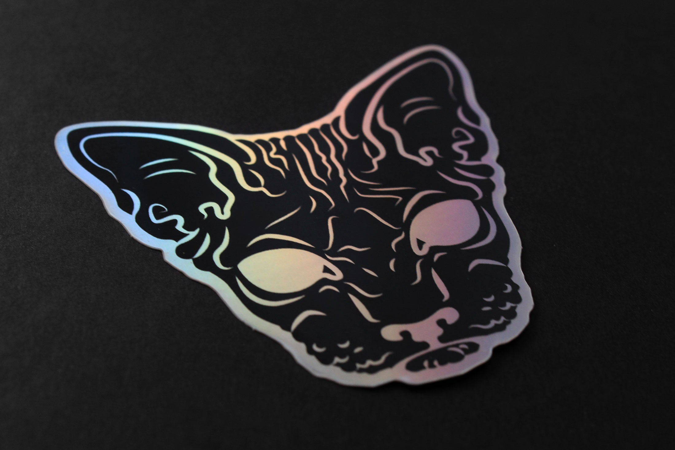 black goth hairless sphynx cat sticker