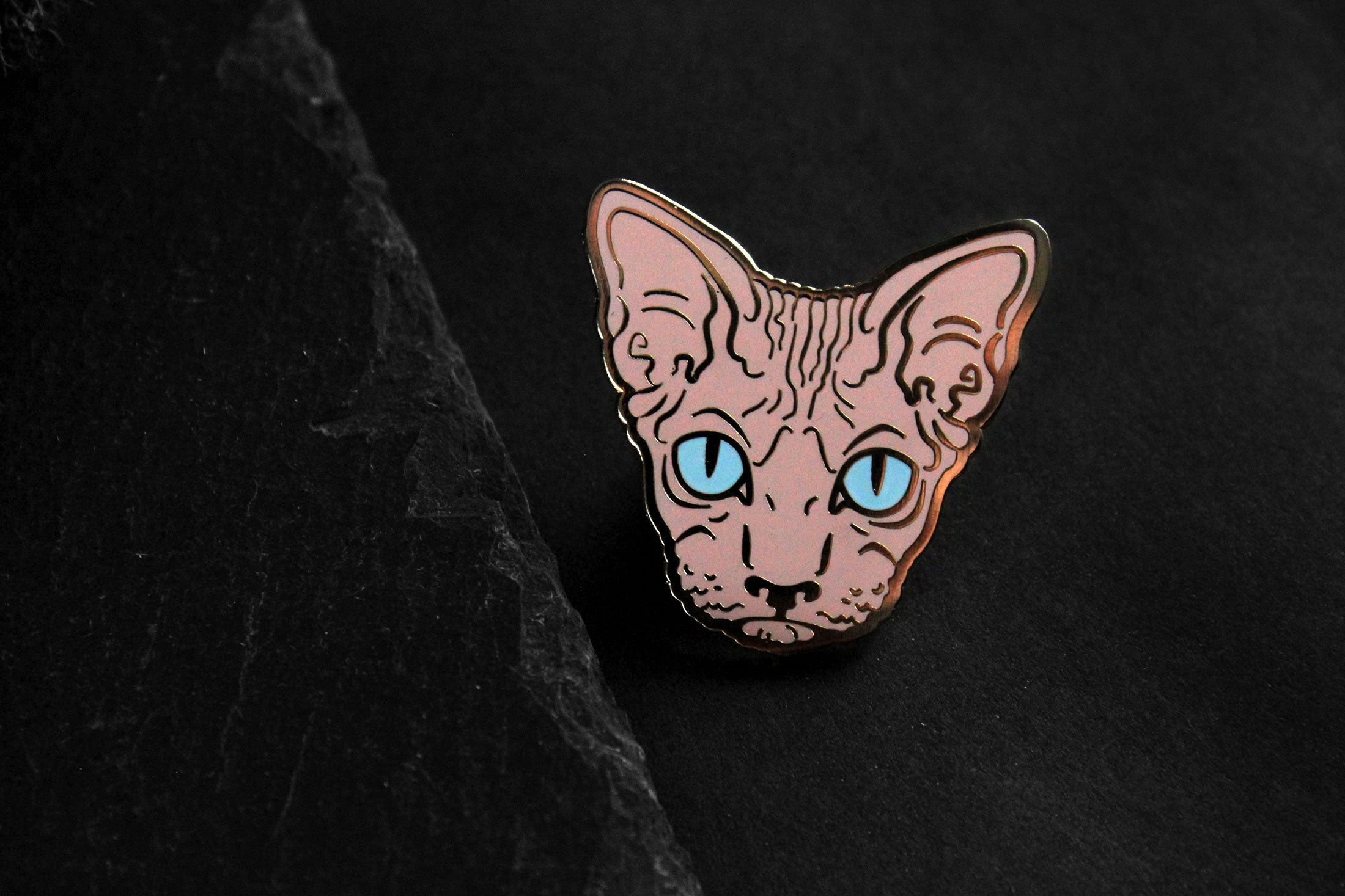 pink gold hairless sphynx cat enamel pin