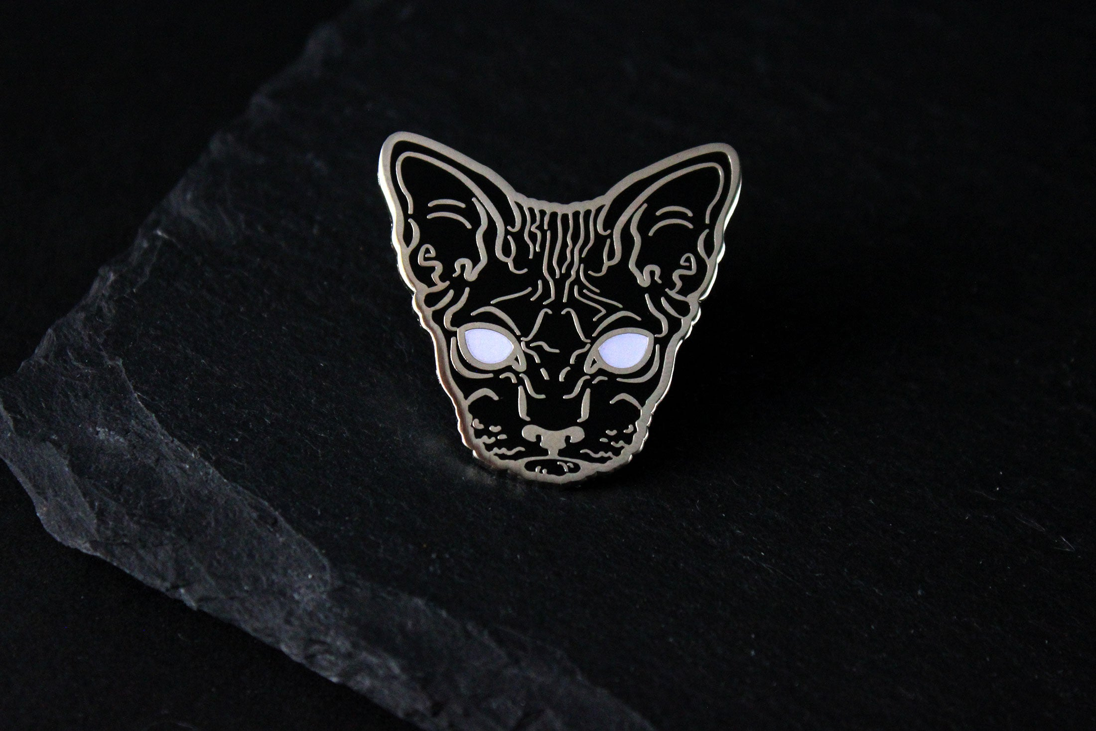 black silver hairless sphynx cat enamel pin