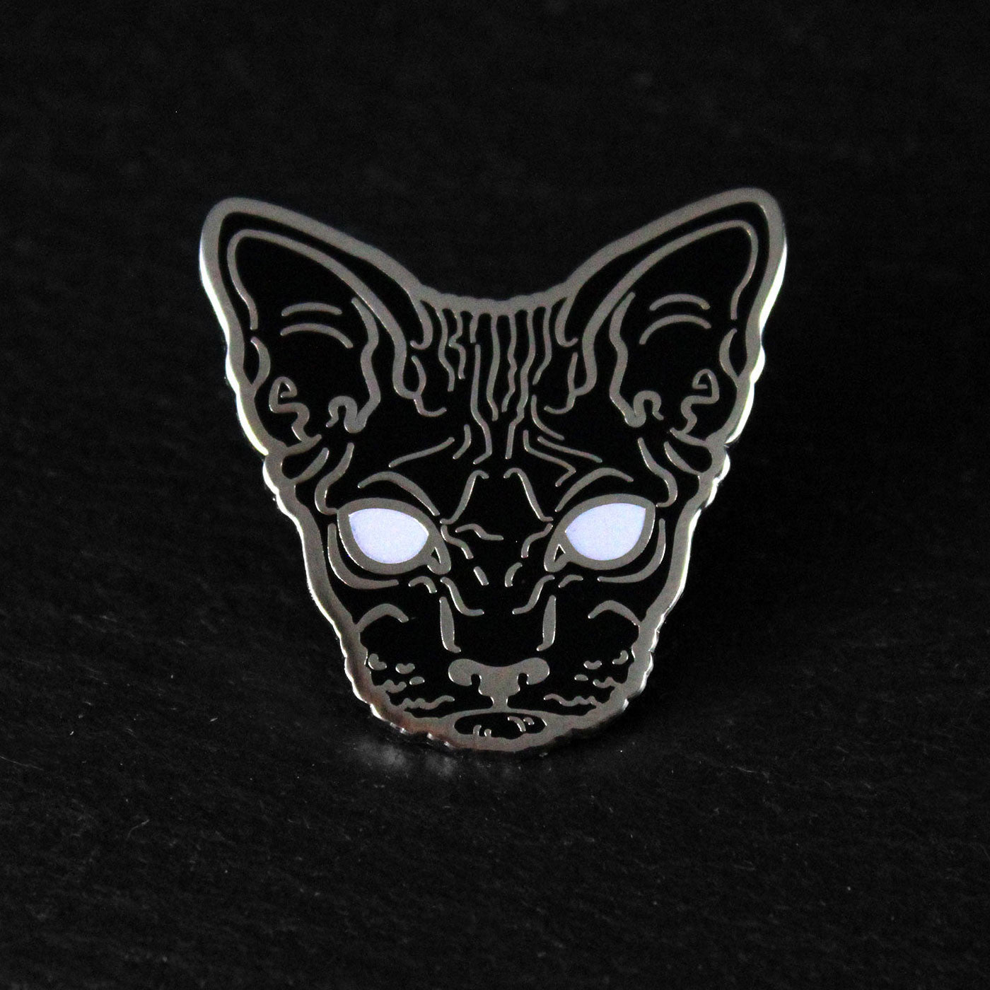 black goth glow hairless sphynx cat enamel pin