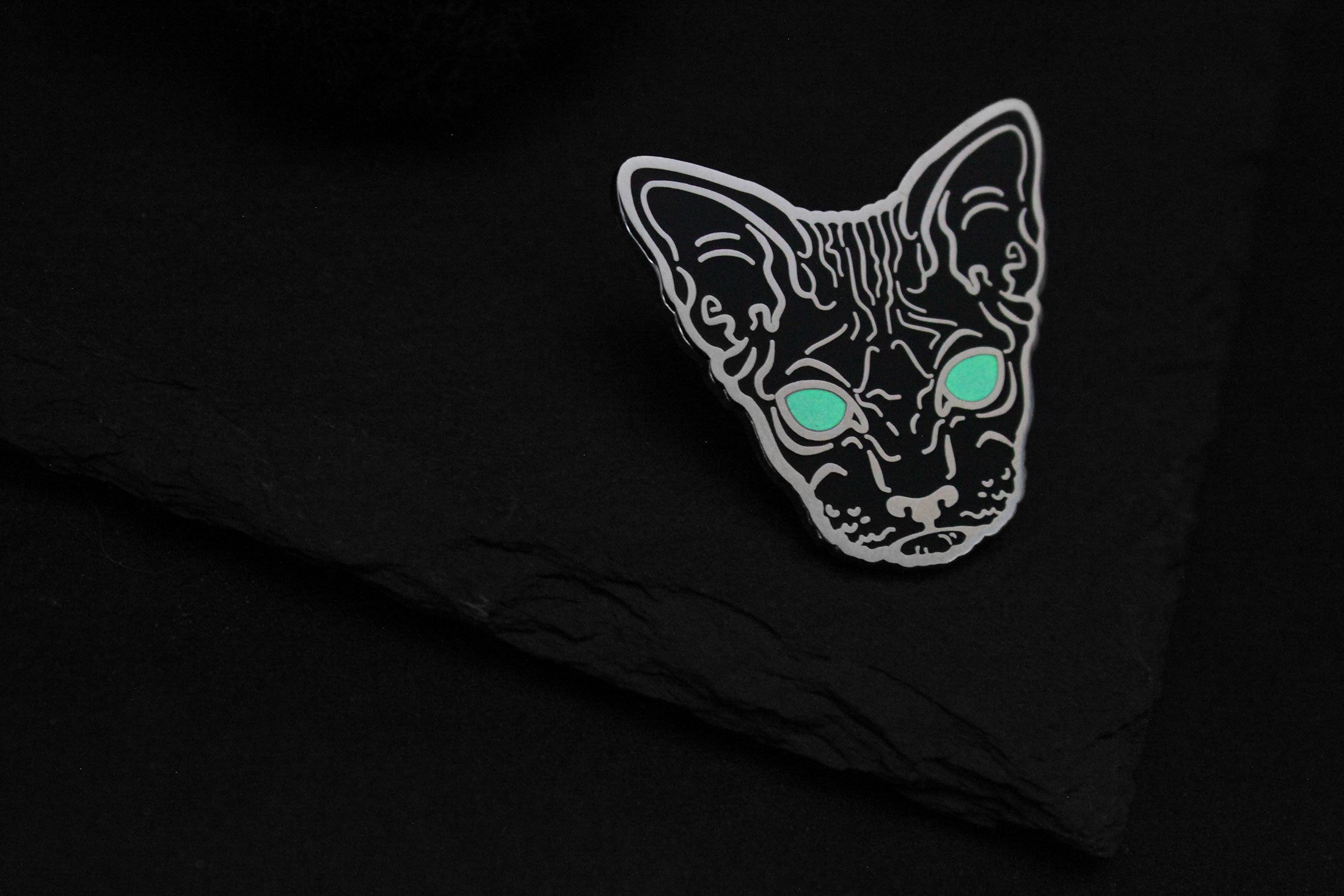 glow in the dark hairless sphynx cat enamel pin