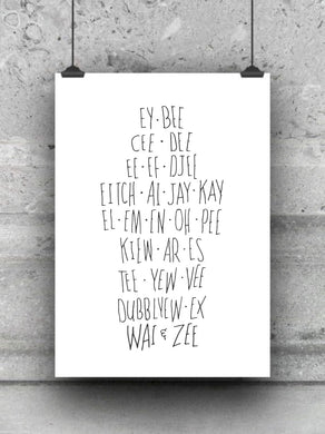 Phonetic Alphabet print / nursery print / office poster