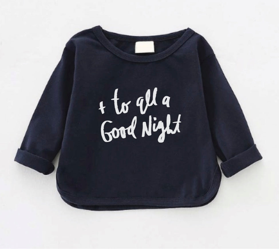And To All A Goodnight long sleeve navy blue lounge/pajama shirt