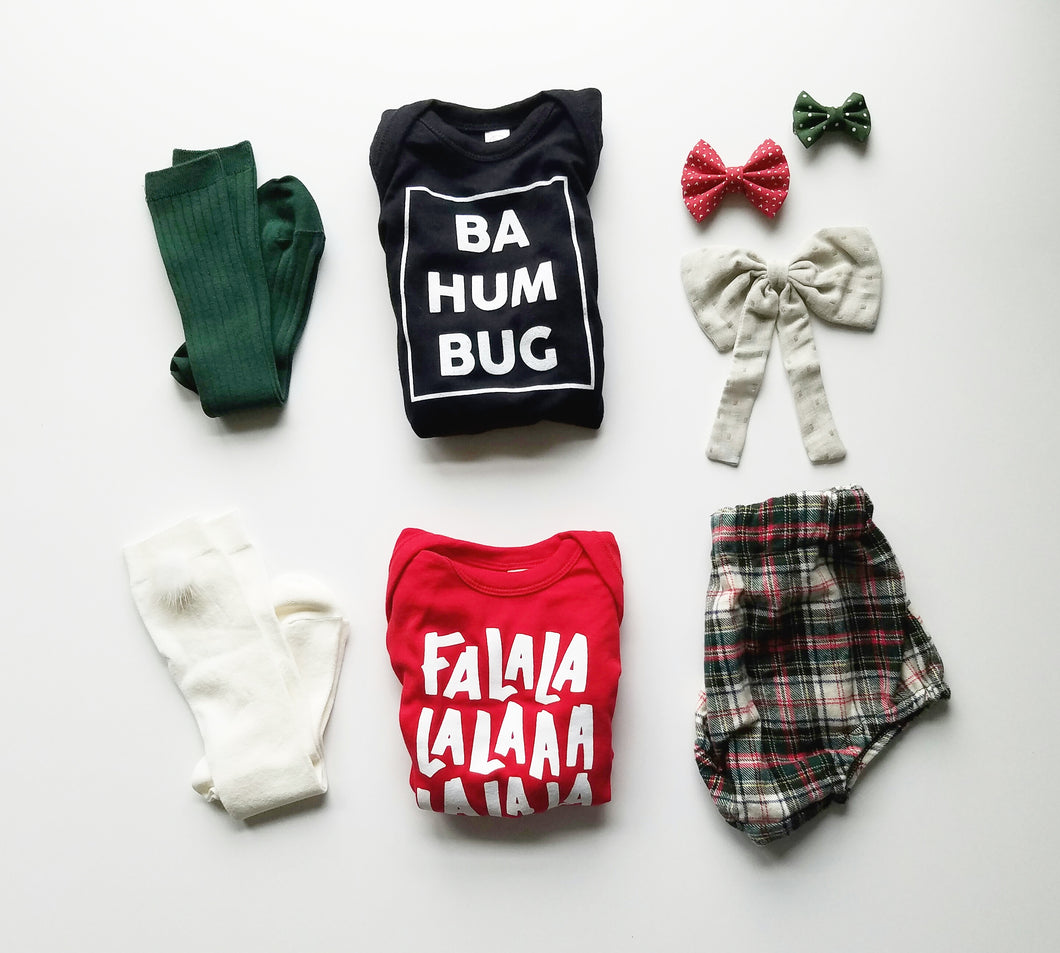 Bundled Infant BaHumBug and Falalalalala Bodysuit