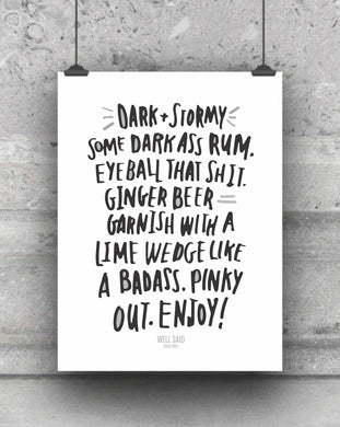 Dark and stormy funny bar cart print