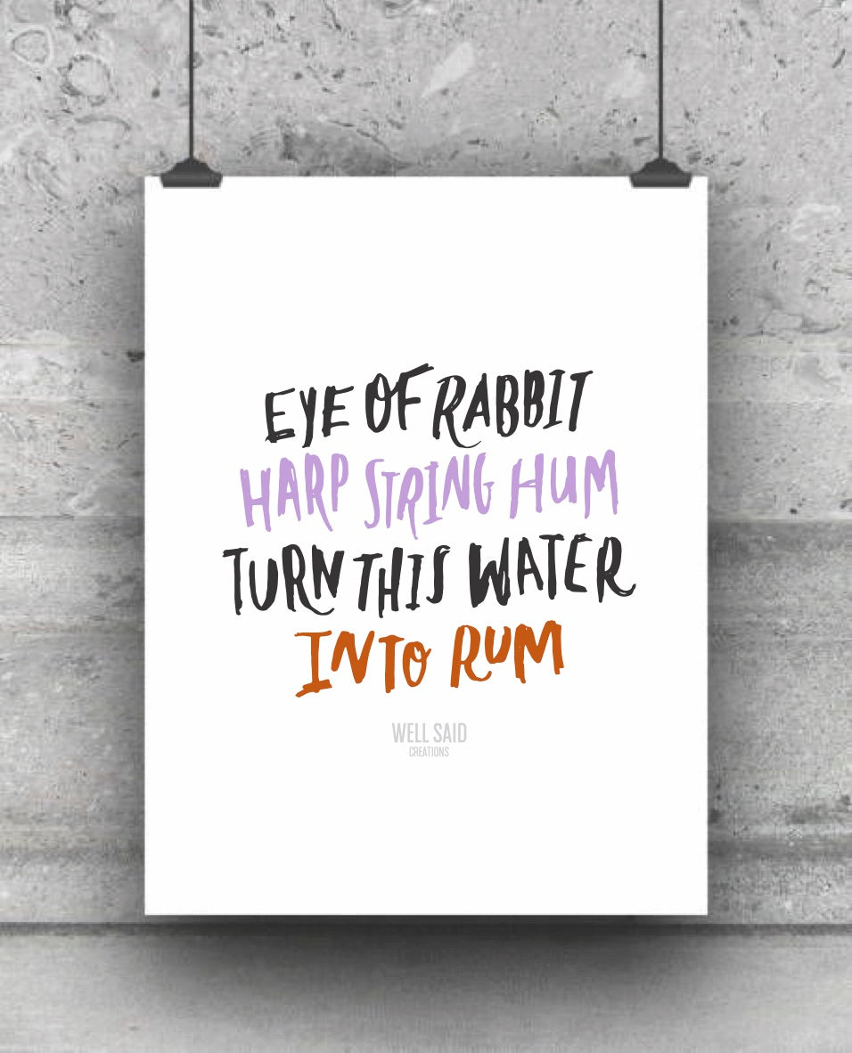Harry Potter Movie Quote Spell - Water into Rum