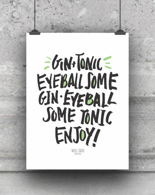 Gin and Tonic Recipe bar cart print