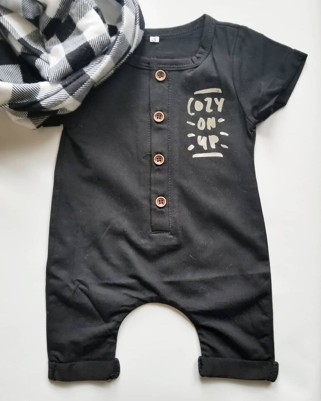 Cozy on up baby romper in black