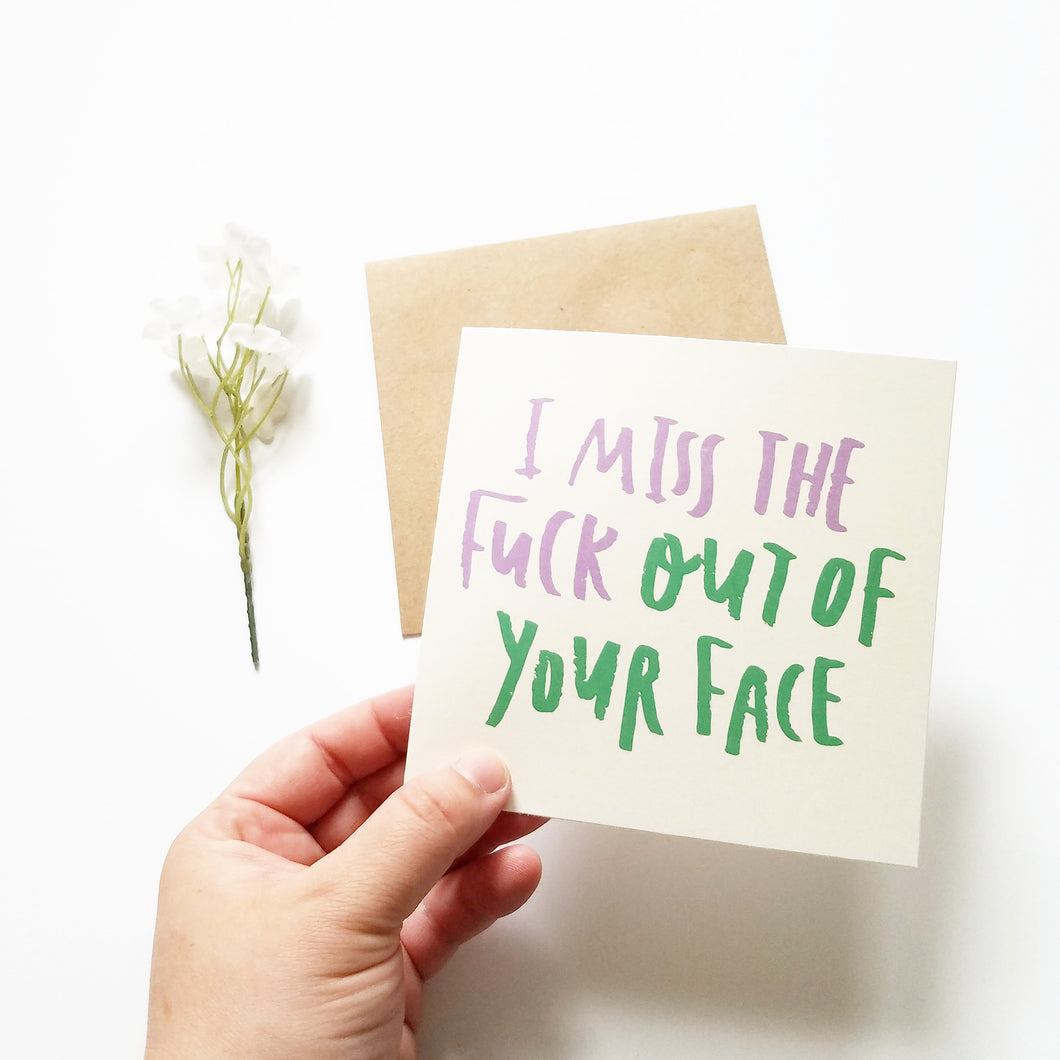 I Miss You Adult Humor Greeting Card And Kraft Paper Envelope Well