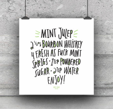 Mint Julep funny bar cart drink ingredients print