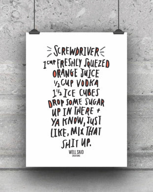 Screwdriver Recipe bar cart print - explicit