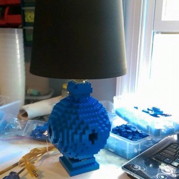 Round LEGO Lamp, Handmade in Blue