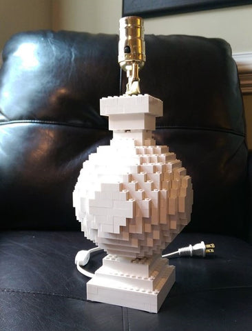 Handmade LEGO Lamp, Round in White