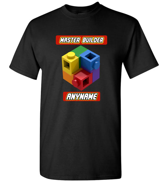 Personalized Any Name Here Master Builder Brick Toy Fan TShirt
