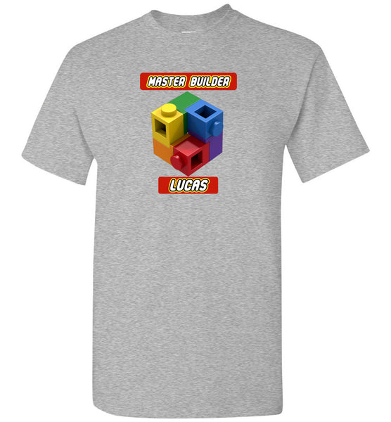 LUCAS FIRST NAME EXPERT MASTER BUILDER YOUTH TSHIRT