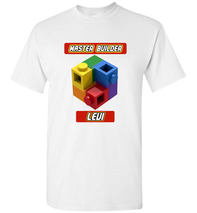 Kids First Name Master Builder Brick Toy Fan TShirt Expert Tee levi