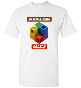 Your First Name Here Master Builder Brick Toy Fan TShirt Expert Tee