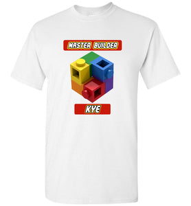 KYE Kids First Name Master Builder Brick Toy Fan TShirt Expert Tee