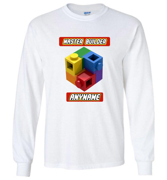 LONG SLEEVE Any Name Here Master Builder Brick Toy Fan TShirt Expert Tee