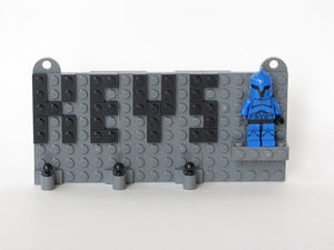Grey Toy Brick Key Organizer with Black Letters and a Star Wars Senate Commando Minifigure