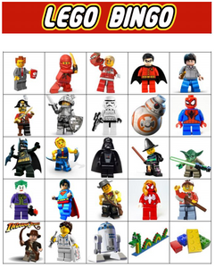 Downloadable Printable BRICK Bingo Game for Toy Brick Themed Birthday Parties