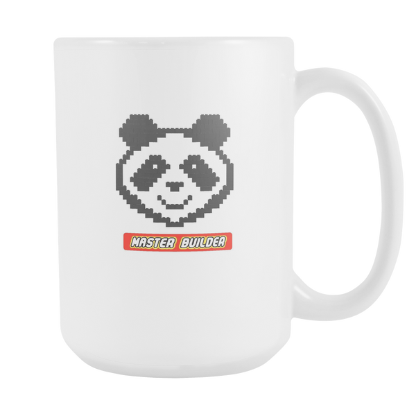 Panda Master Builder Toy Brick Toy Red and Yellow 15oz White Ceramic Mug