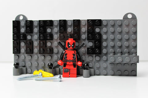 Grey Toy Brick Key Organizer with Black Letters and a Deadpool Miniature Figurine