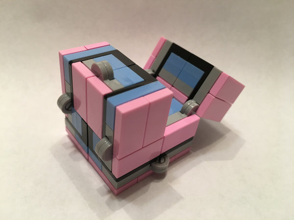 Pink and Blue Folding Fidget Cube Parts KIT, Built with Toy Bricks (Instructions download included)