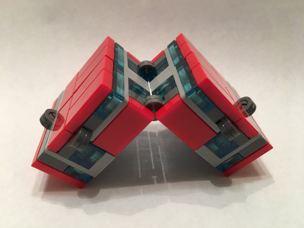 Red and Blue Folding Fidget Cube Parts KIT, Built with Toy Bricks (Instructions download included)