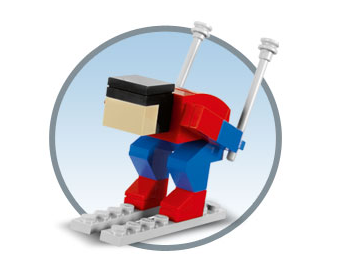 Christmas Ornament - Miniature Downhill Skier Made with real Toy Bricks