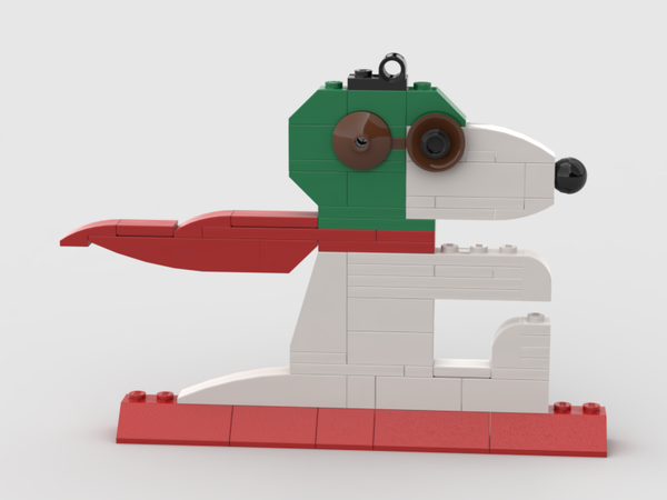 Downloadable Instructions for a Snoopy World War I Flying Ace Christmas Ornament, built with LEGO