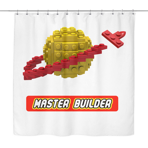 Classic Space Master Builder Shower Curtain for a Toy Brick Themed Bathroom