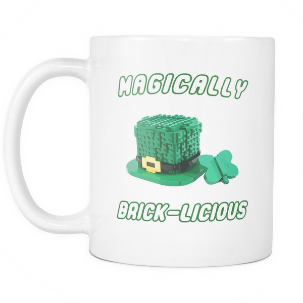 Magically Brick-Licious Toy Brick Leprechaun Hat 11 Ounce Black Ceramic Coffee AFOL Mug