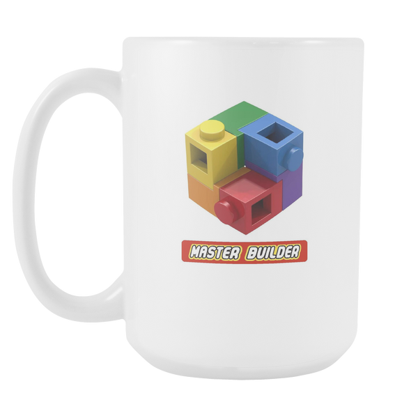 Master Builder AFOL Expert LOGO Brick Toy Mug 15oz White Ceramic Mug