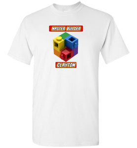 CLAYTON Kids First Name Master Builder Brick Toy Fan TShirt Expert Tee