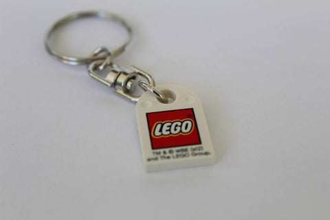 Lego Key Chain with Classic LOGO on White Plate Keyring or Key chain