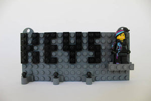 Toy Brick Keychain Organizer with Wyldstyle Minifigure