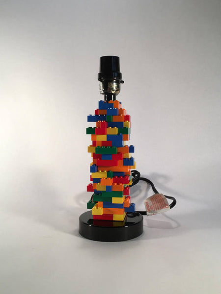 Kids Bedroom Lamp Built with Toy Bricks (Red, Blue, Orange, Yellow, Green)