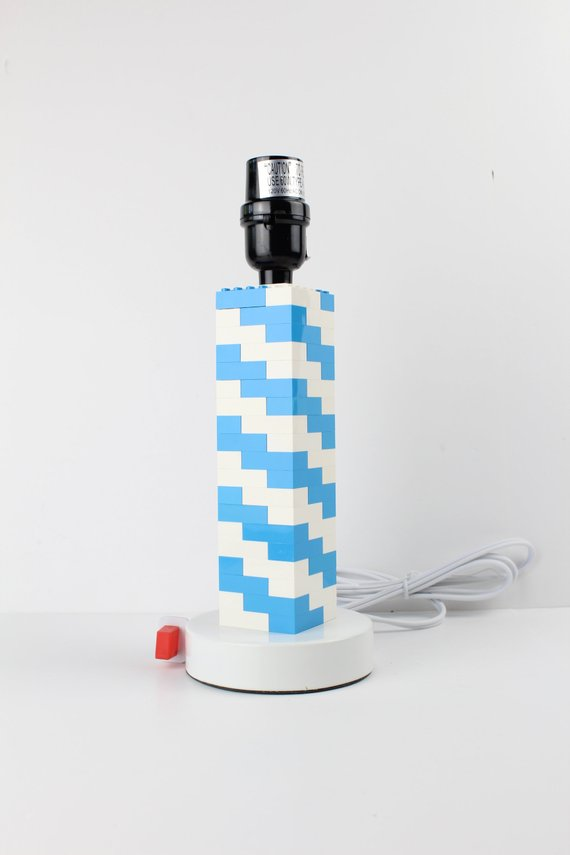 Bedroom Lamp or Office Desk Light (Blue and White), Built with Toy Bricks