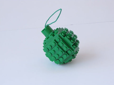 Christmas Ornament - Green (Made with real Toy Bricks)