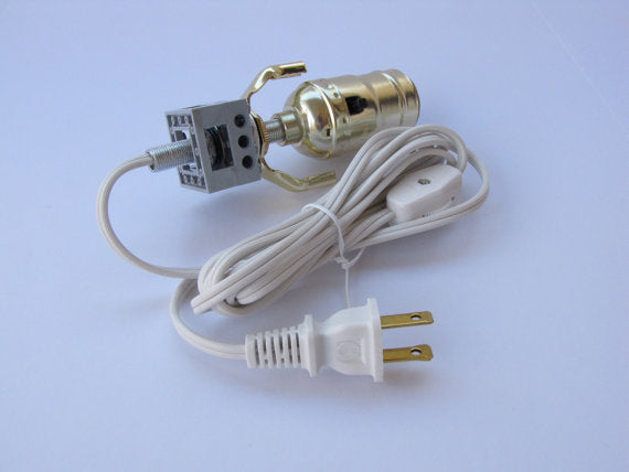 DIY Lamp Kit for use with Toy Bricks, Brass Finish, White Switch Cord, Build Your Own Lamp