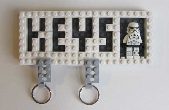 White Toy Brick Key Organizer with Valet Key Chains and Original Trilogy Storm Trooper Minifigure