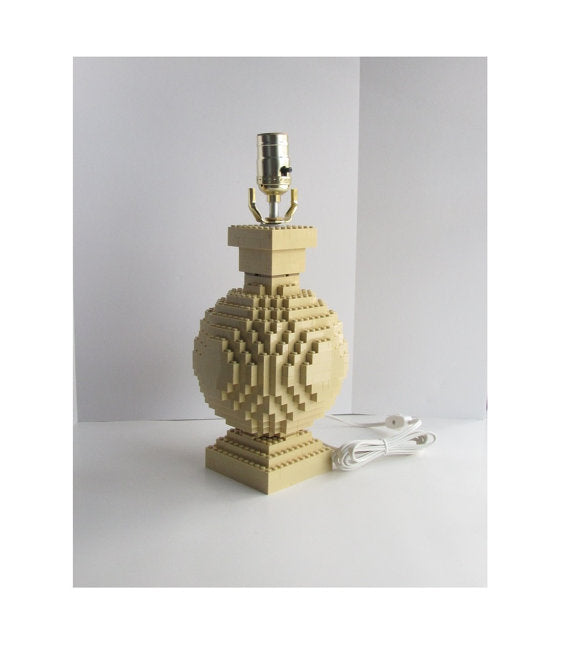 Brick Accent Lamp, Built with Tan Toy Bricks