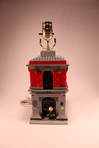 Kids Bedroom Lamp Built with Toy Bricks Fire Station Theme with Fire Chief Minifigure