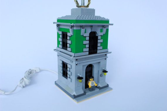 Kids Bedroom Lamp with Minifigure, Built with GREEN Toy Bricks City theme